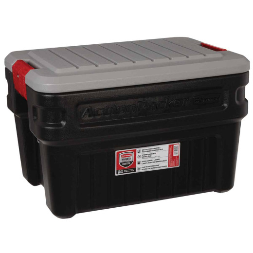 Rubbermaid ActionPacker 24 Gal. Black Storage Tote