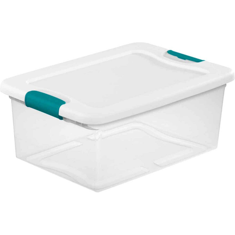 Sterilite 15 Qt. White Latching Storage Tote Image 1