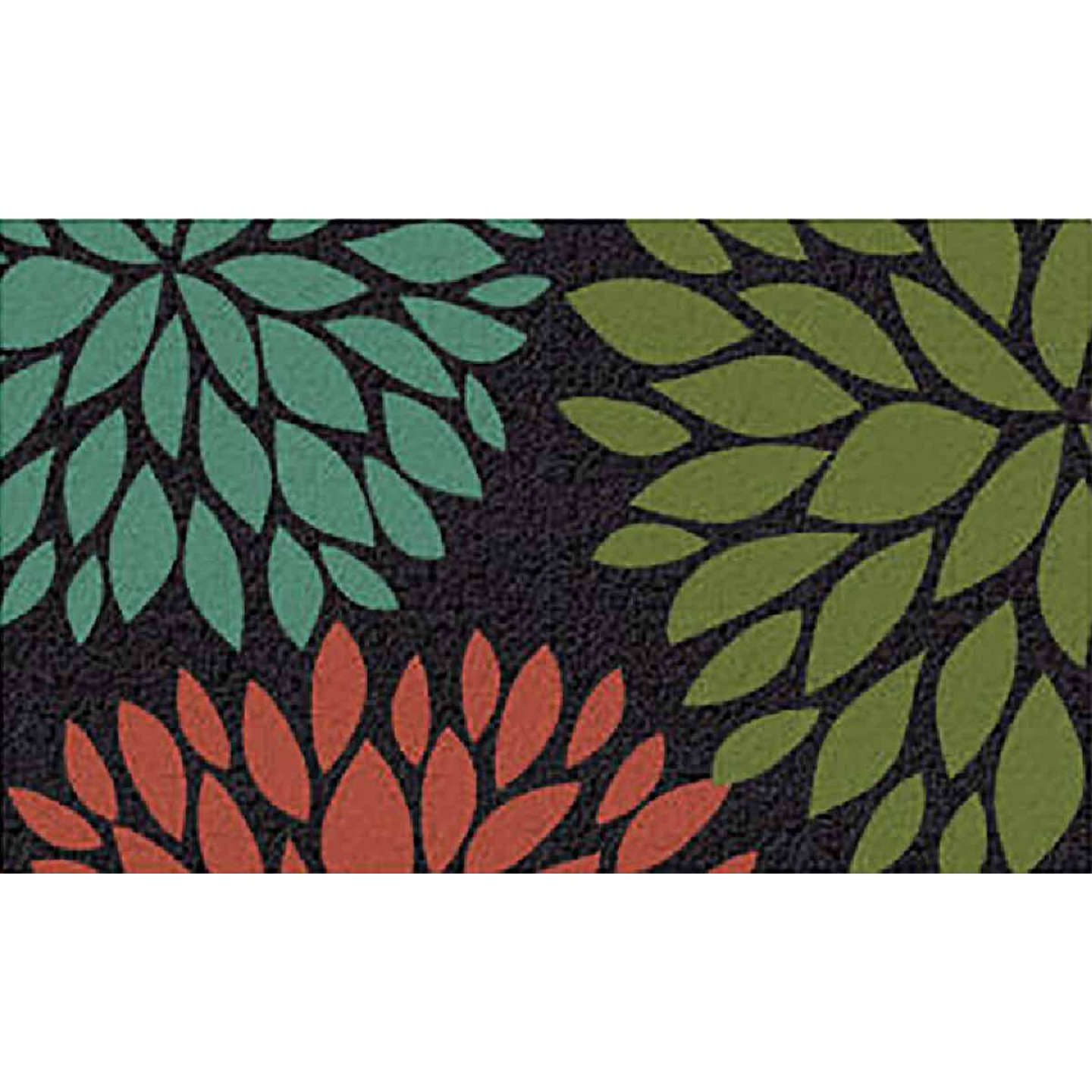 Americo Home Front Runner 18 In. x 30 In. Green Flowers Mat Image 1