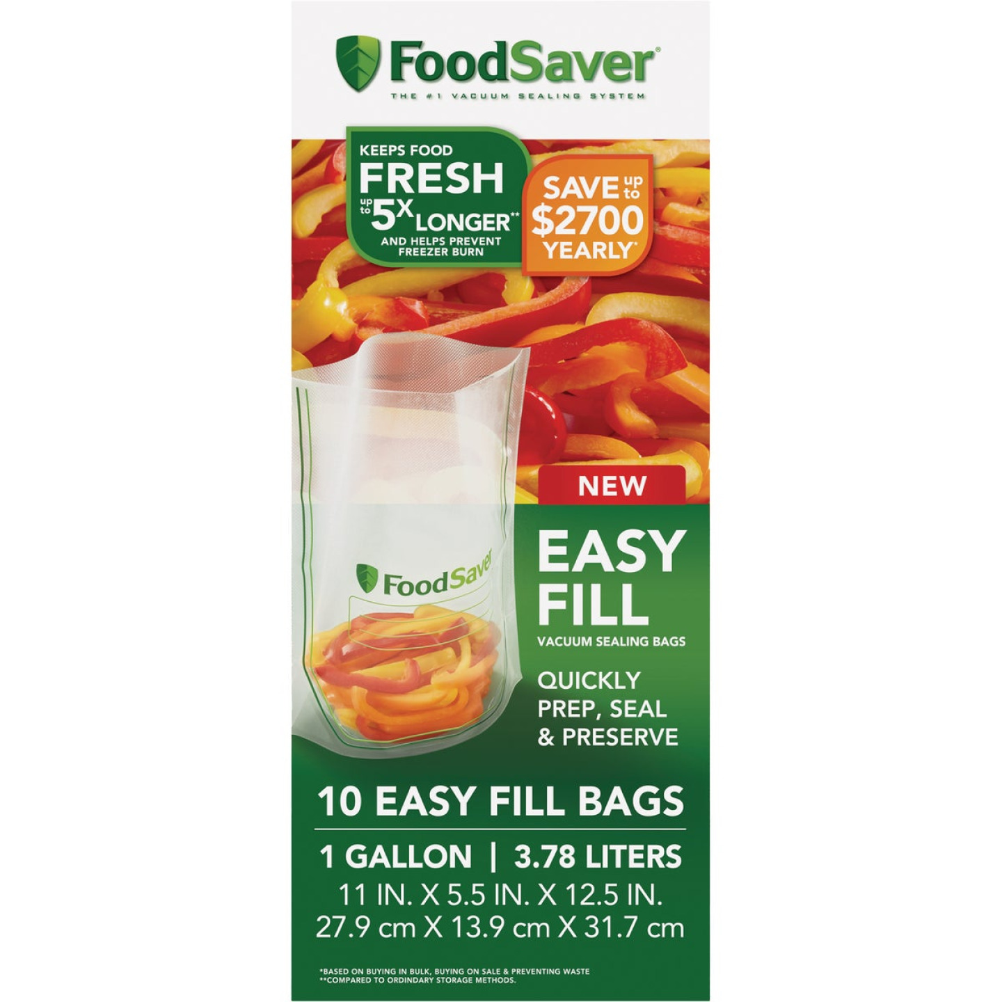 FoodSaver Easy Fill Gal. Vacuum Sealer Bags (10 Count) Image 1