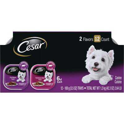 Cesar Classic Loaf Filet Mignon/Porterhouse Steak Variety Adult Wet Dog Food (12-Pack)