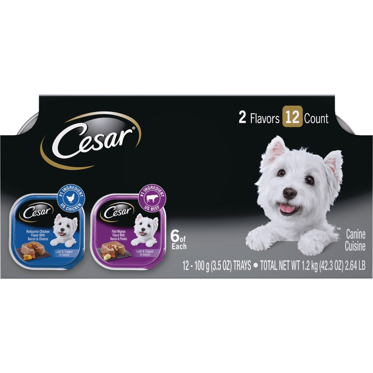 Cesar Loaf & Topper Rotisserie Chicken with Bacon & Cheese/Filet Mignon with Bacon & Potato Variety Adult Wet Dog Food (12-Pack) Image 1