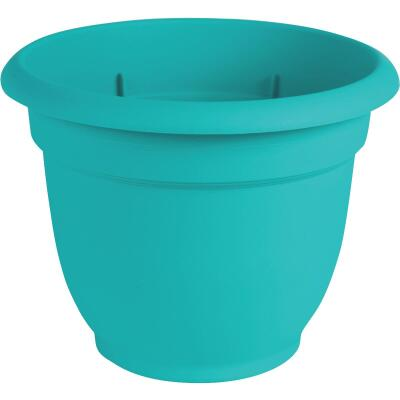Bloem Ariana 13.75 In. H. x 16 In. Dia. Plastic Self Watering Bermuda Teal Planter