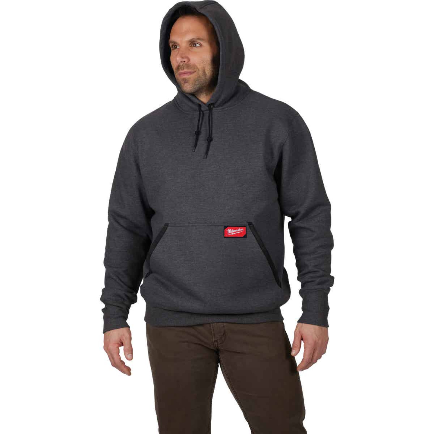 Milwaukee Medium Gray Heavy-Duty Pullover Hooded Sweatshirt Image 4