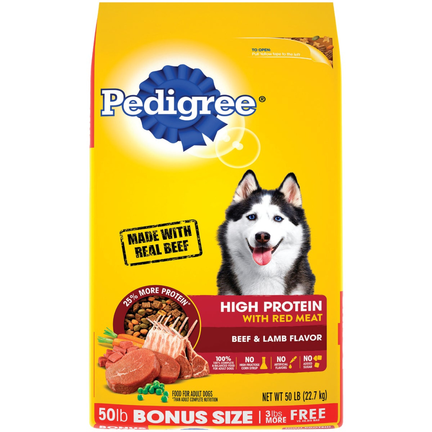 Pedigree 50 Lb. Beef & Lamb High Protein Adult Dry Dog Food Image 1