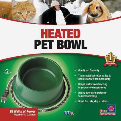 API 1 Qt. Blue Plastic Heated Pet Bowl