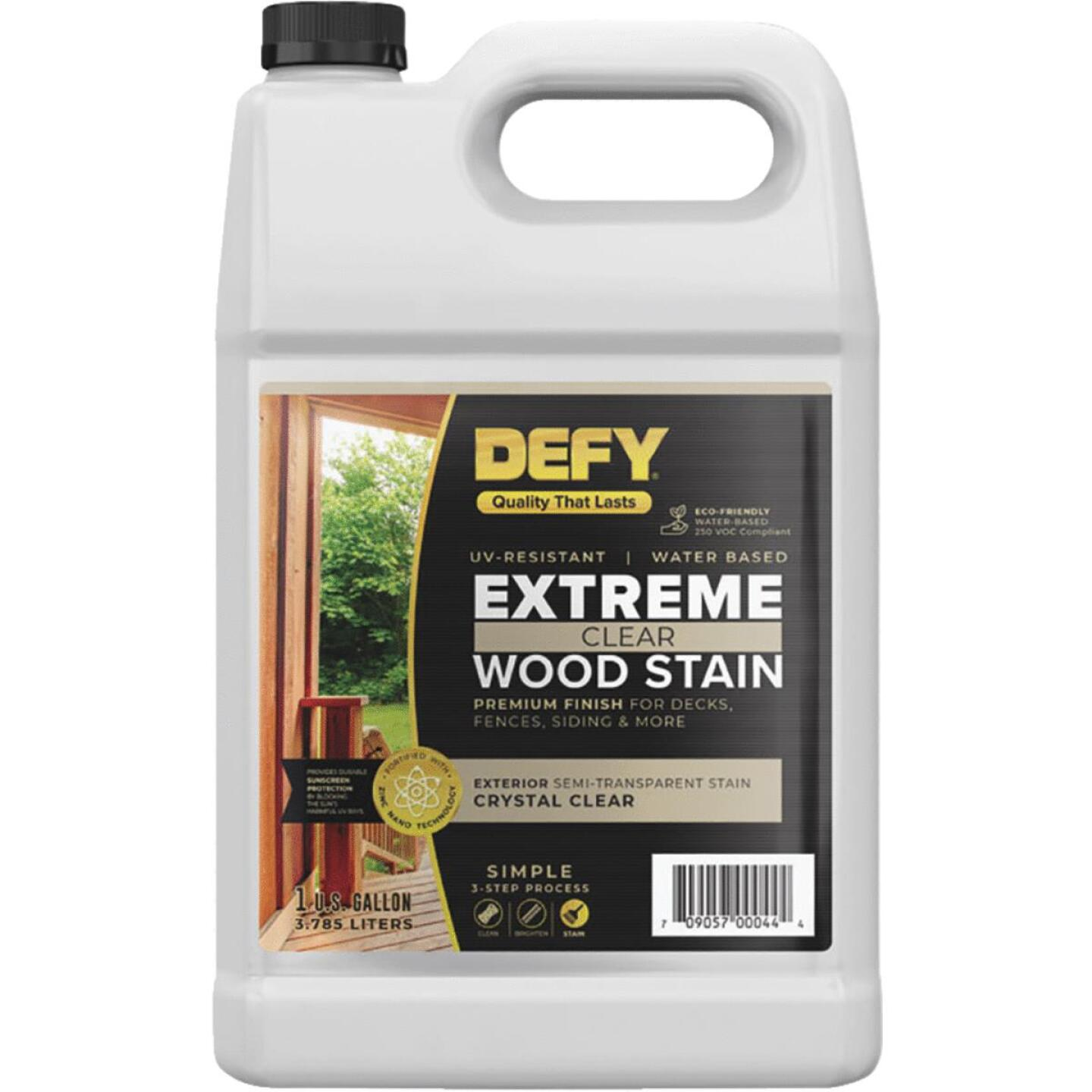 DEFY Extreme Transparent Exterior Wood Stain, Crystal Clear, 1 Gal. Bottle Image 1