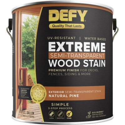 DEFY Extreme Semi-Transparent Exterior Wood Stain, Natural Pine, 1 Gal. Can