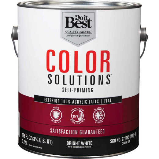 Do it Best Color Solutions 100% Acrylic Latex Self-Priming Flat Exterior House Paint, Bright White, 1 Gal.