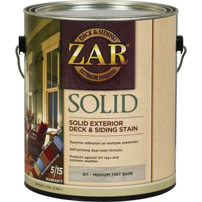 ZAR Solid Deck & Siding Stain, Medium Tint Base, 1 Gal.