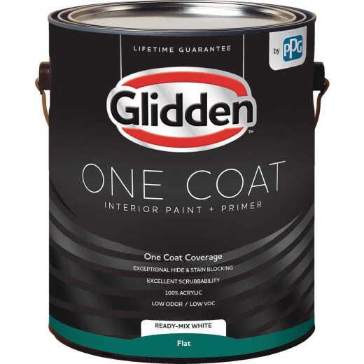 Glidden One Coat Interior Paint + Primer Flat Ready Mix White 1 Gallon