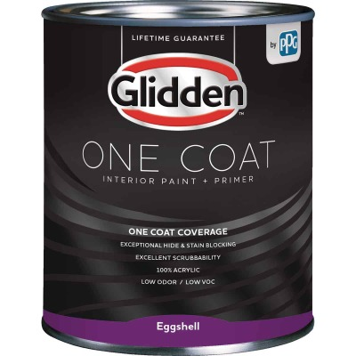 Glidden One Coat Interior Paint + Primer Eggshell White & Pastel Base Quart