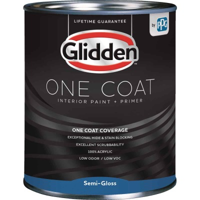 Glidden One Coat Interior Paint + Primer Semi-Gloss Ultra Deep Base Quart
