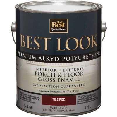 Best Look 1 Gal. Tile Red Polyurethane Gloss Porch & Floor Enamel