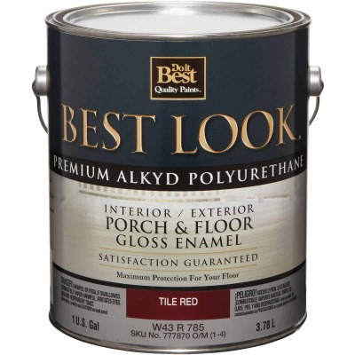 Best Look 1 Gal. Tile Red Polyurethane Gloss Porch & Floor Enamel