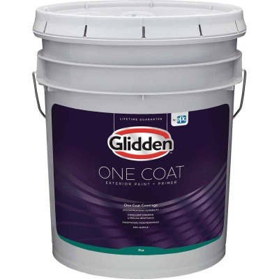 Glidden One Coat Exterior Paint + Primer Flat White & Pastel Base 5 Gallon