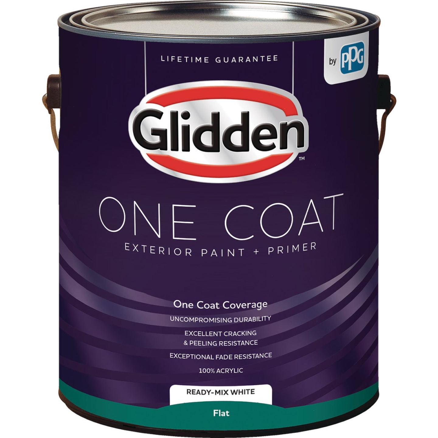 Glidden One Coat Exterior Paint + Primer Flat Ready Mix White 1 Gallon Image 1