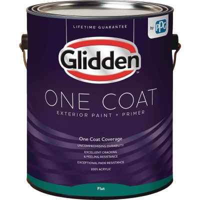 Glidden One Coat Exterior Paint + Primer Flat Ultra Deep Base 1 Gallon