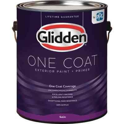 Glidden One Coat Exterior Paint + Primer Satin Midtone Base 1 Gallon