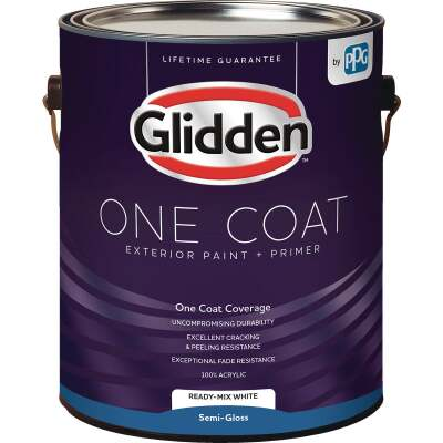 Glidden One Coat Exterior Paint + Primer Semi-Gloss Ready Mix White 1 Gallon