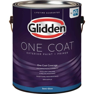 Glidden One Coat Exterior Paint + Primer Semi-Gloss Midtone Base 1 Gallon